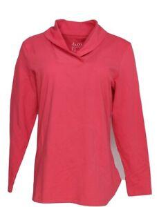 Denim-amp-Co-Women-039-s-Top-Sz-S-Essentials-Perfect-Jersey-Shawl-Collar-Pink-A346275