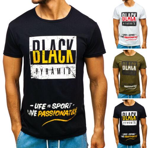 T-Shirt Tee Casual Classic Kurzarm Rundhals Print Aufdruck Herren BOLF 3C3 Motiv