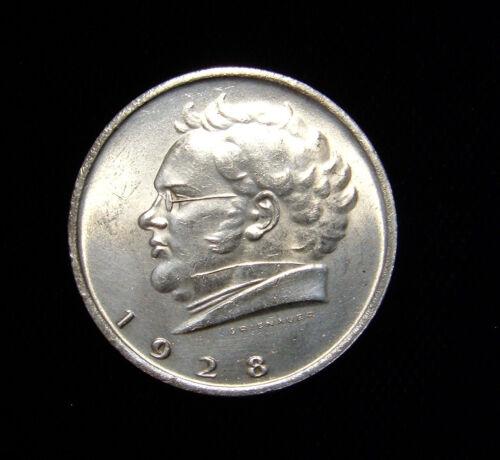 Austria 1928 2 Schilling Coin Silver UNC Centennial Death of Franz Schubert