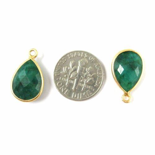 Small Teardrop Emerald Dyed Bezel Gemstone Pendant-Vermeil 10x14mm 2pcs