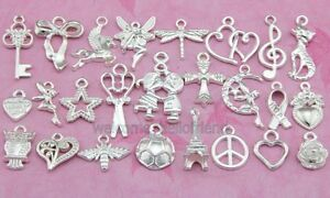 50pcs-Owl-Key-Heart-Football-Mix-Silver-Plated-Mixed-Pendants-Charms-Y49