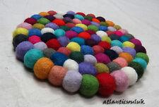 HM1 Hand Craft Felt Ball wool pom pom beads Round Decorative Hot Pot Pad Mat