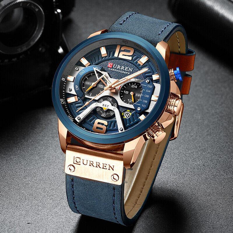 CURREN Casual Sport Watches for Men Blue Top Brand Luxury Mi