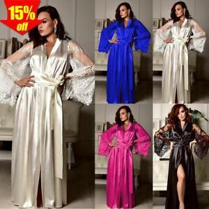 ✅ Damen langes Kimono Nachtmantel Morgenmantel Nachtwäsche Dessous Bademantel