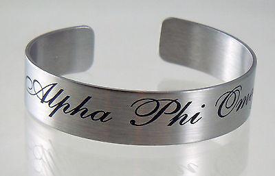 """Alpha Phi Omega, ΑΦΩ, 6,7 In."""" Braggin' Bracelet In Silver Stainless Steel"""
