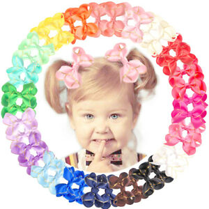 40pcs-Boutique-Grosgrain-Ribbon-Gold-Thread-3-034-Hair-Bow-For-Girls-Toddlers-Teens