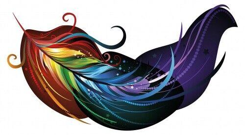 Wandtattoo Feder in Regenbogenfarben Wandsticker Schlafzimmer