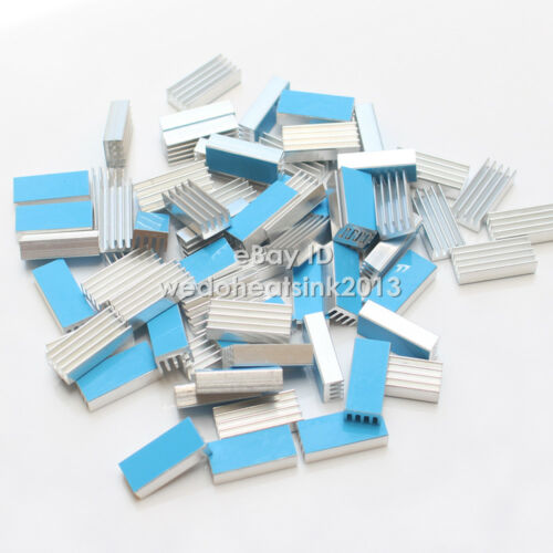 20pcs Extruded 20x8.8x5mm Aluminum Heatsink For Ram Chips With Thermal Stick Pad
