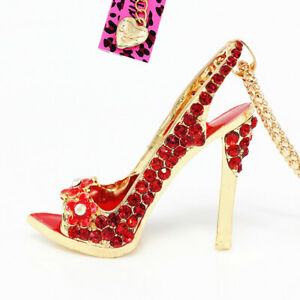 Betsey-Johnson-Enamel-Crystal-Flower-High-heeled-Shoes-Pendant-Chain-Necklace