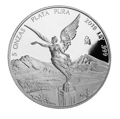 Romantisch 5 Unzen Oz Silber Silver Libertad Siegesgöttin Mexico Mexiko 2018 Pp Proof