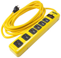 Surge Protector Strip, 15-foot Cord, 6-outlet,power Yellow Jacket Metal