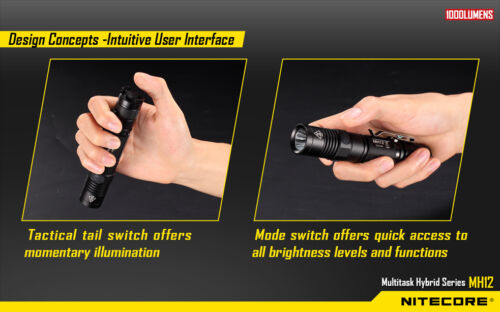 Nitecore MH12 Rechargeable Flashlight 1000 Lumens XM-L2 U2 Battery Included!