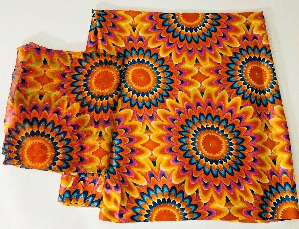 Premium African Ankara Satin Silk & Chiffon Print Fabric With Stones Craft 1Yard