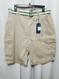 01af74ffc2 Sahara Club Mens Stone Color Cotton Cargo Shorts Size 34 With Belt ...
