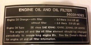 KAWASAKI Z550 KZ550 ENGINE OIL AND OIL FILTER CAUTION WARNING DECAL | eBay