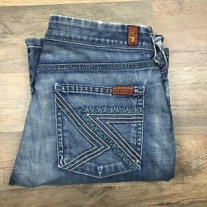 Seven-7-For-All-Mankind-Womens-Size-28-x-29-Jeans-Blue-Flynt-Bootcut-Teal-Pocket