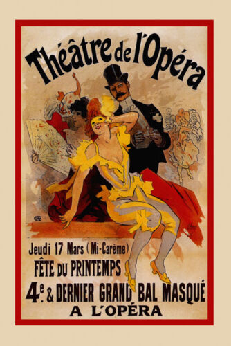Mask Lady Carnival Theater Opera Show Paris French Vintage Poster Repro FREE S//H