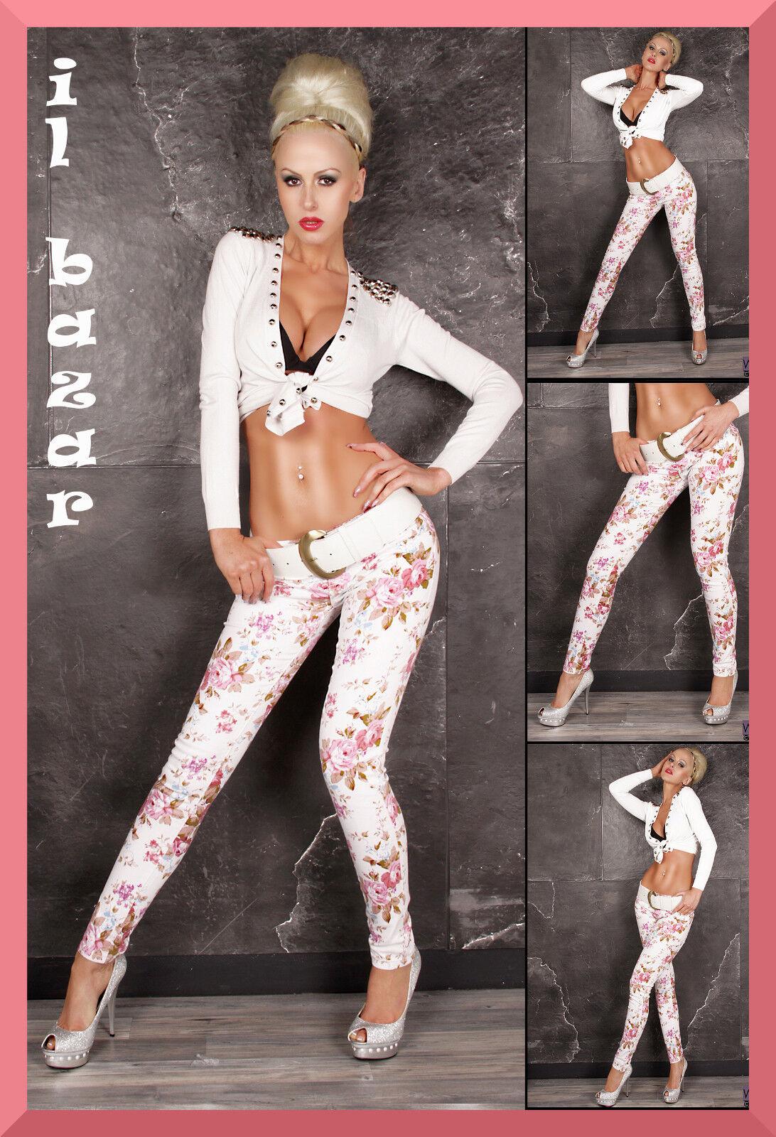Pantalone jeans bianco stampa floreale denim di cotone taglie  40; 42; 44; 46