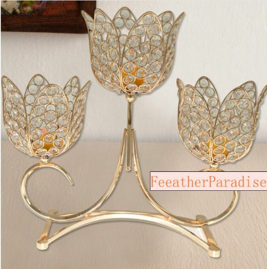 Crystal or 3 bras métallique Floral Riser Mariage Décorations Unity CANDLE HOLD