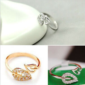 1-x-Noble-Adjustable-Crystal-Exquisite-Chic-Rhinestone-Leaves-Ring-Fashion