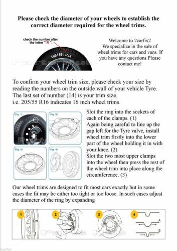 "PEUGEOT 206 ONE 14/"" ruota rifinitura wheeltrim Chrome Badge 415C"