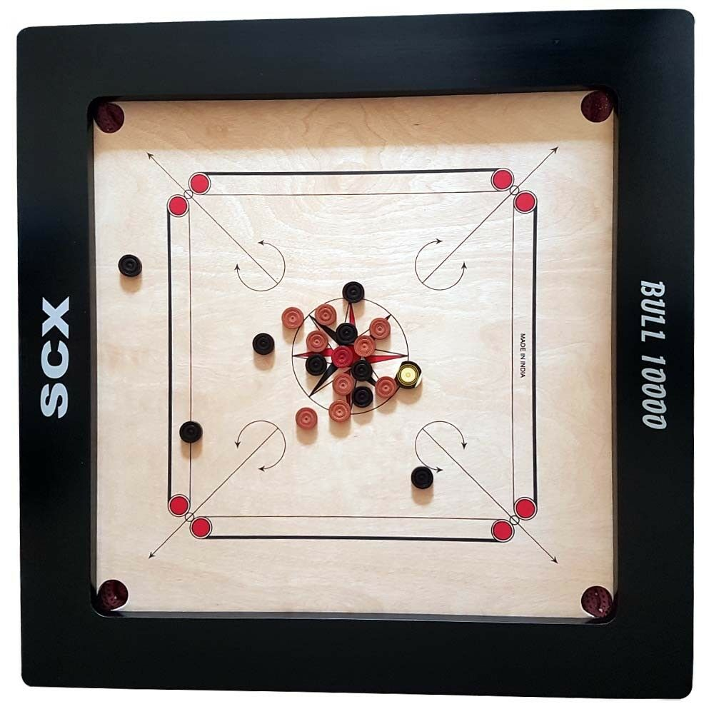 PROFFETIONAL( ITS )BULL 10000 10000 10000 24mm TOURNAMENT CARROM BOARD GAME + COINS+ STRIKER 096466