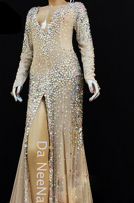 Da NeeNa G029C Showgirl Dior J'adore Charlize Theron Diva Nude White Gown XS-XL