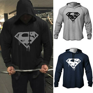 Men-039-s-GYM-Blood-Superman-Print-Bodybuilding-Workout-Raglan-Hoodies-Sweatshirts