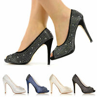 NEW WEDDING PARTY PROM EVENING PEEP TOE SHOES DIAMANTE HIGH HEELS SIZE 3 - 8