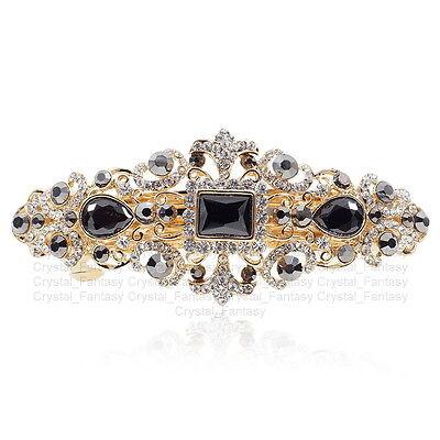 Elegant Black Crystal Austria Rhinestone Gold Tone Alloy Barrette Hair Clip #79