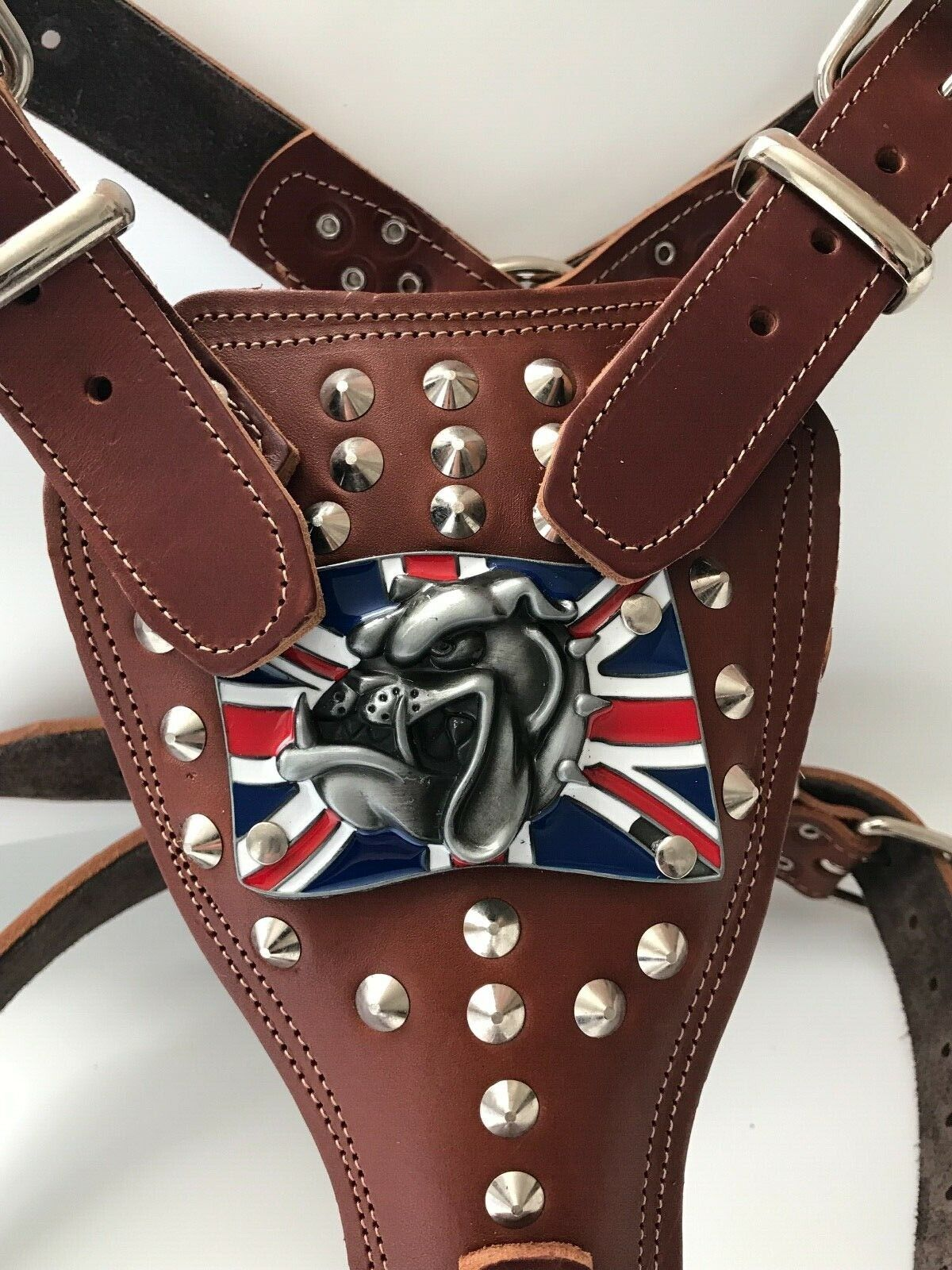 LEATHER BULLDOG HARNESS-BRITISH ENGLISH BULLDOG-REAL GENUINE LEATHER DOG HARNESS