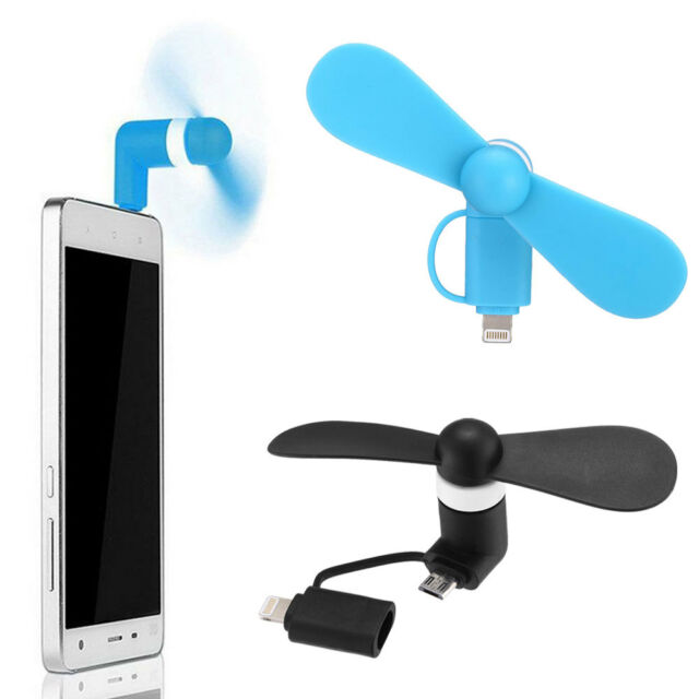 2 in 1 Mini Micro USB Electric Fan Cell Phone Cooling For iPhone Android Phones
