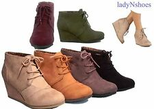 NEW Women's  Round Toe Lace Up Ankle Low Wedge Booties Shoes All Size 5.5 - 11
