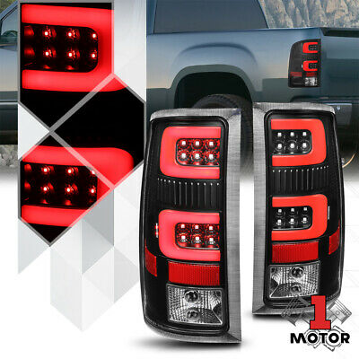 Black//Clear *TRON LED BAR* 3D Red-C Neon Tail Light for 99-03 Silverado//Sierra