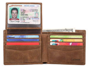 Mens-Genuine-Leather-Bifold-Wallet-with-2-ID-Window-and-RFID-Blocking-Brown