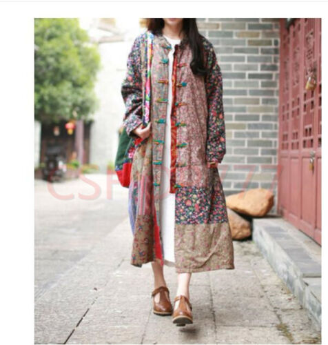 Robe Qipao Cheongsam Femmes Trench Floral Ske15 Chinois Robe Outwear Longues FXqdTf