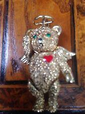 Rare! Vintage Angel Teddy Bear Brooch Spilla Angelo Orsacchiotto