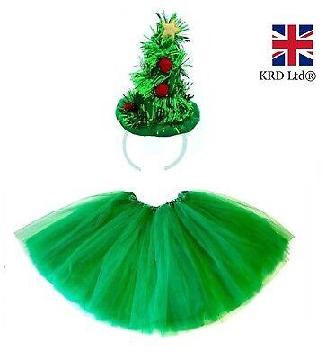 Umbrella Christmas Tree Uk.Christmas Tree Tutu Costume Kids Teens Girls Ladies Santa Fancy Dress Party Uk Ebay