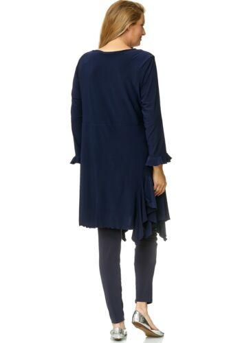 MAGNA Lagenlook Damen Long Bluse Tunika Jacke A-Linie 42 44 46 48 50 52 54 56 60