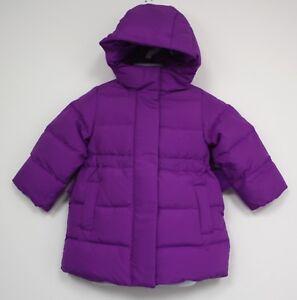 J Crew Crewcuts girls down puffer jacket coat hood bows pockets size 2 purple