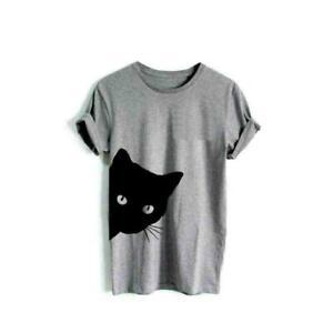 1pc Women Cotton Blouse Cat Print Tshirt Summer Short Sleeve Hipster Tees T
