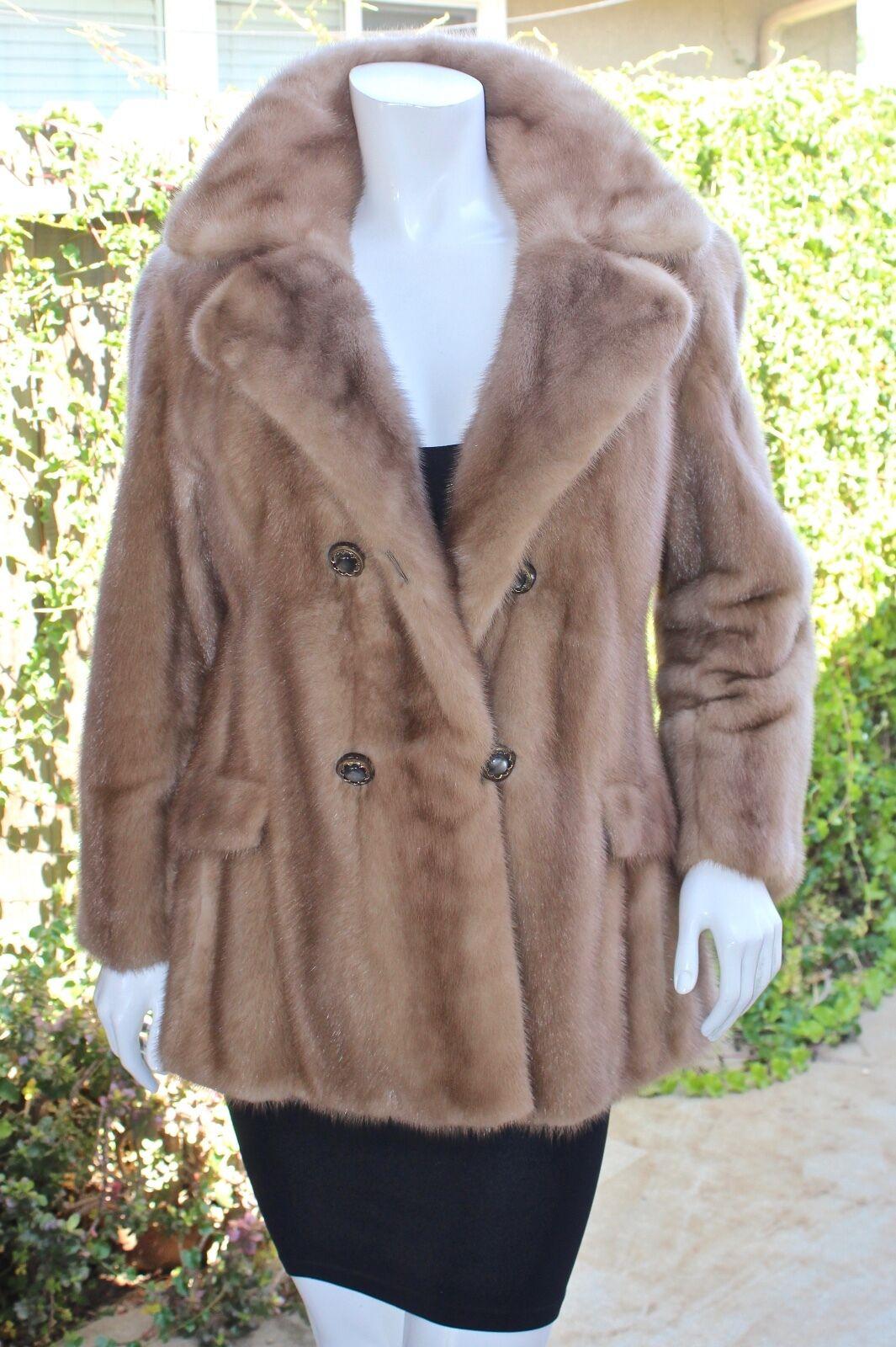 Pastel de piel de visón rancho Real de doble  abotonadura Vintage Abrigo Chaqueta De Cochecito S M  opciones a bajo precio