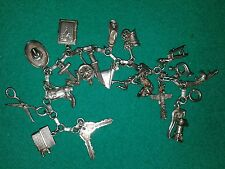 Vintage Sterling Silver 925 Mechanical Moveable (19) Charm Bracelet 34+Grams