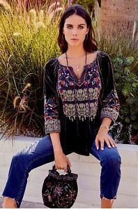 NWT-JOHNNY-WAS-JWLA-Embroidered-CLAUDE-Velvet-PEASANT-BLOUSE-V-Neck-XS-268