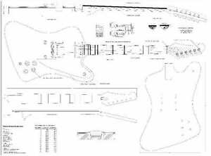 Details about Gibson firebird Studio Guitar Plans- full scale - detailed  FREE SHIPPING