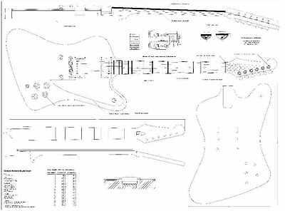 Gibson firebird Studio Guitar Plans- full scale - detailed  FREE SHIPPING