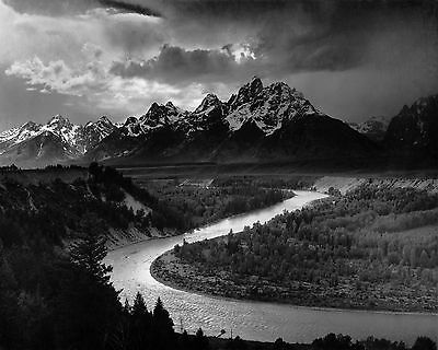 "The Tetons and The Snake River by Ansel Adams, 12.75""x16"", Giclee Canvas Print"