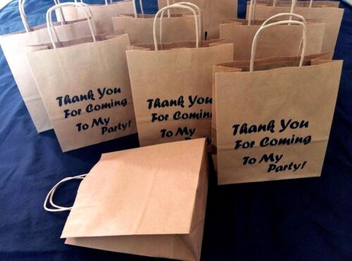 Thank You For Coming To My Party Printed or Clean Brown Bags Birthday 18x8x21cm