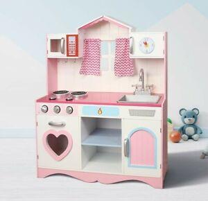 Mcc Large Girls Kids Pink Wooden Play Kitchen Children S Play Pretend Set Toy Ebay