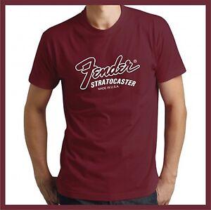 Fender Stratocaster Made In USA logo Maroon short sleeve tshirt